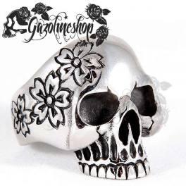 Bague tete de mort fleurs