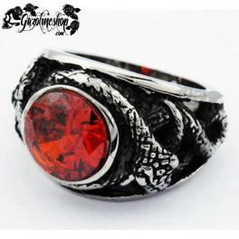 Bague gothique Serpent rouge